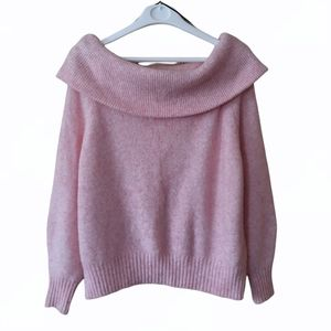 H&M Pink Wool Blend Cowl Neck Crop Sweater Size S